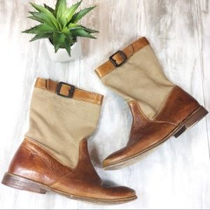 Frye Leather and Canvas Boots